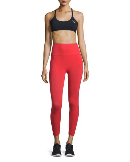 Technical-Knit 7/8-Length Leggings, Red