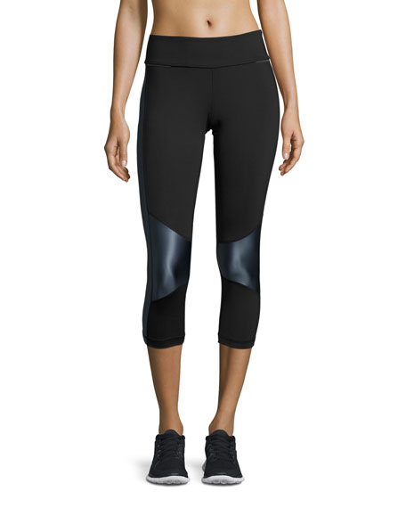 Alala Blocked Crop Tight Leggings, Black/Liquid Indigo