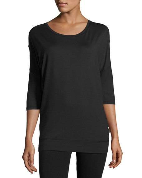 Alala Tranquility Mesh-Panel Tunic, Black