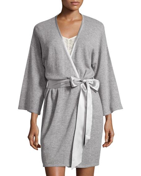 Short Silk-Trimmed Cashmere Robe