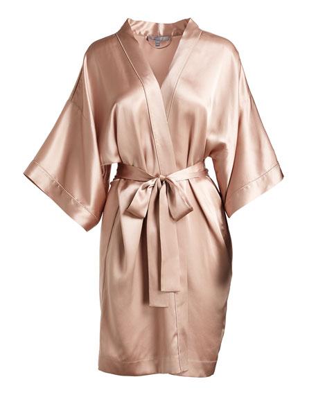Contrast-Trimmed Silk Kimono Robe