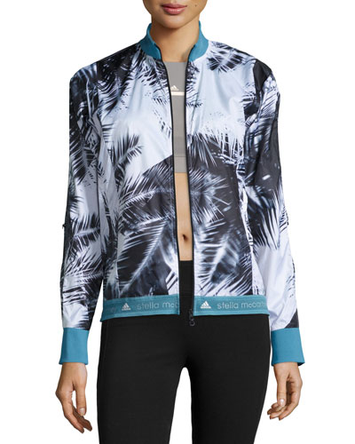 Palm-Print Run Jacket, Black/White