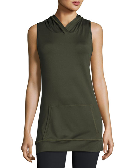 Alala Twist-Back Hooded Athletic Tank Top, Army