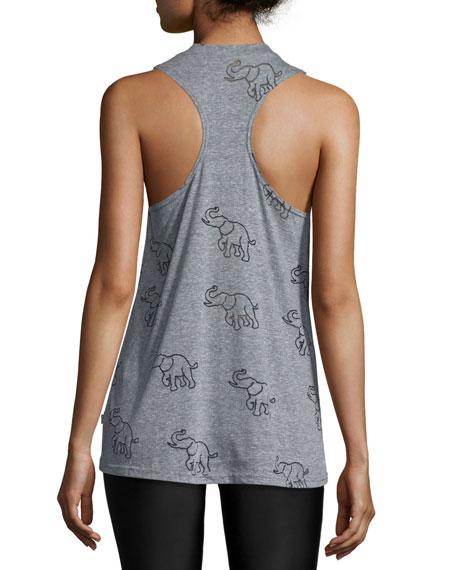 Elephant-Print Burnout Muscle Tank Top