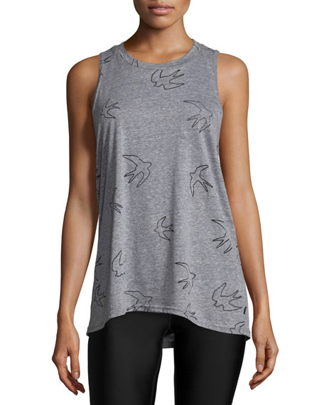 Bird-Print Burnout Muscle Tank Top