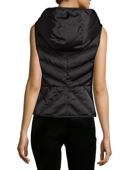 Satin Mesh-Inset Puffer Vest, Black Online Cheap