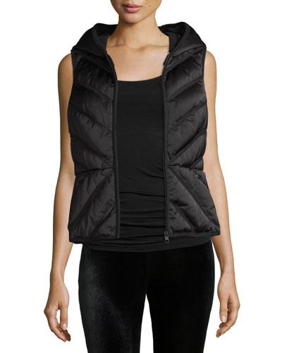 Satin Mesh-Inset Puffer Vest, Black
