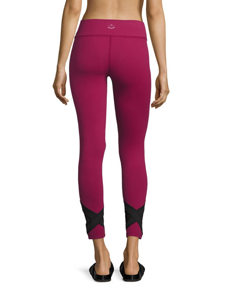 Crop X-Marked Mesh Legging, Merlot