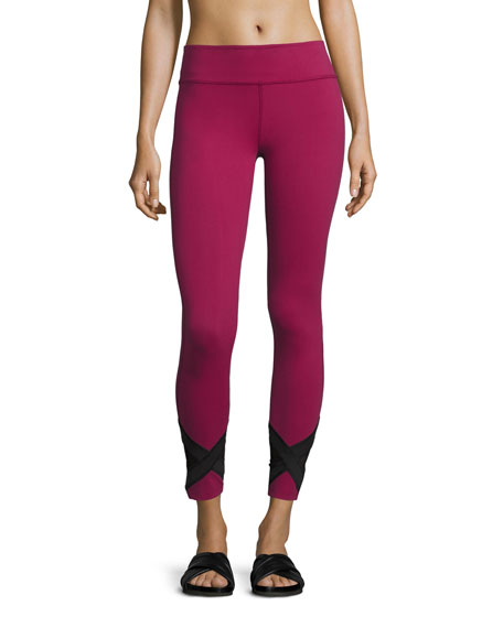 Beyond Yoga Crop X-Marked Mesh Legging, Merlot