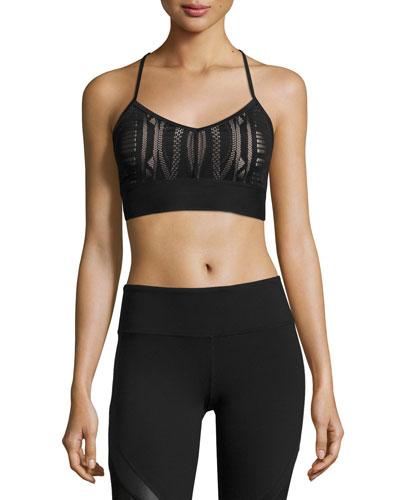 Aria Lace Sports Bra, Black/Buff