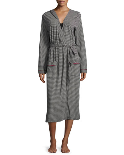 Bella Stripe-Print Hooded Robe, Black/Deep Ruby