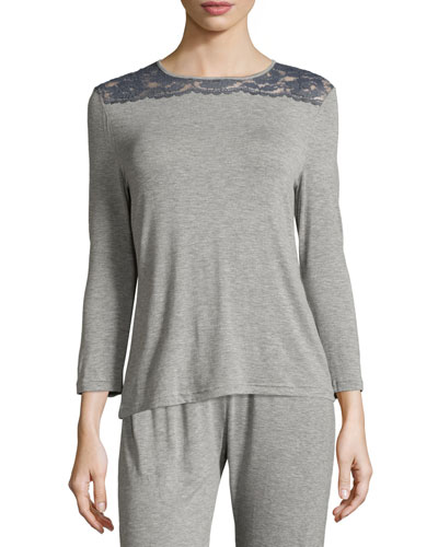 Nouveau 3/4-Sleeve Lounge Top, Heather Gray