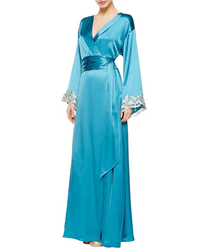 Maison Silk Long Robe, Turquoise