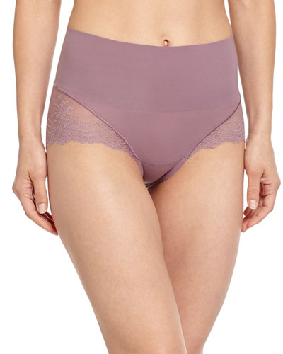 Undie-Tectable High-Waist Lace Boyshorts, Mulberry Shadow