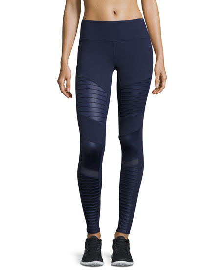 Alo Yoga Moto High-Waist Sport Leggings, Navy