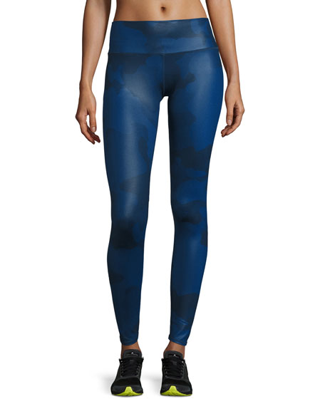 Alo Yoga Airbrush Camouflage-Print Sport Leggings, Navy Camo