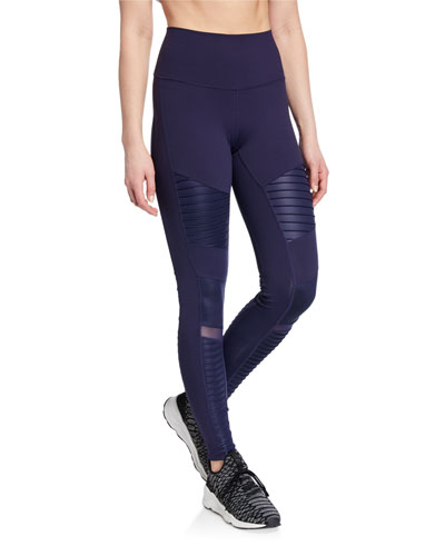 Moto High-Waist Sport Leggings, Black