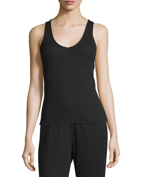 Travel Rib Lounge Tank Top, Black