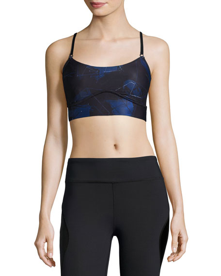 Alala The Cut Printed Cami Sports Bra, Blue
