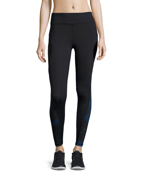 Alala Edge Printed Ankle Running Tights/Sport Leggings, Blue