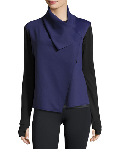 Sophisticate Drape-Front Sports Jacket, Blue Suro/Black