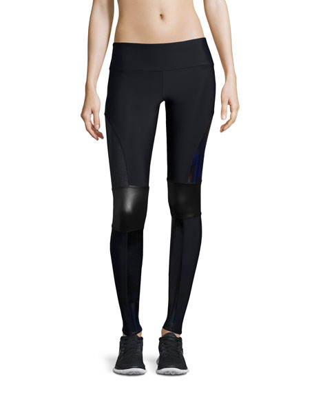 Onzie Paneled Moto Sport Leggings, Black Halo