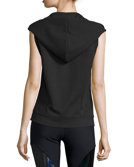 Sleeveless Front-Zip Sport Hoodie Vest, Black