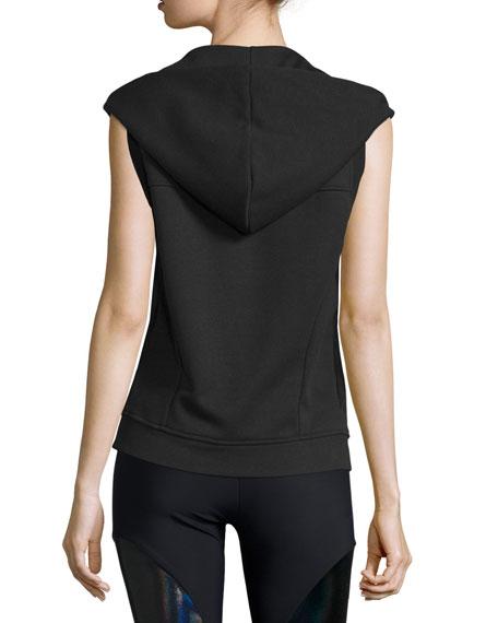 Sleeveless Front-Zip Sport Hoodie Vest, Black