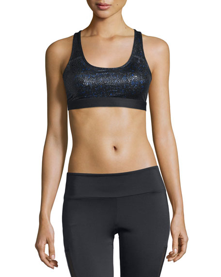 Onzie Elastic Band Sports Bra, Black Pebbles