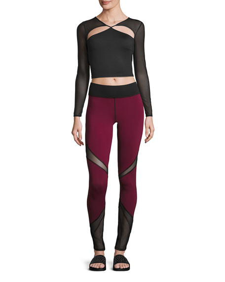 Radiate Mesh-Inset Sport Leggings, Shiraz/Black