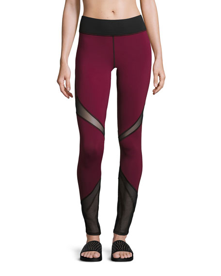 Michi Radiate Mesh-Inset Sport Leggings, Shiraz/Black