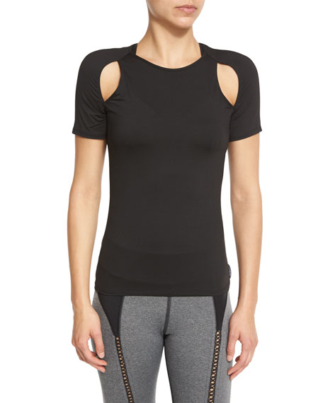 Michi Slash Cutout-Shoulder Sport Top, Black