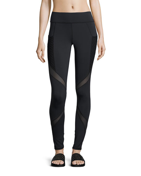 Michi Suprastelle Mesh-Panel Performance Leggings, Black