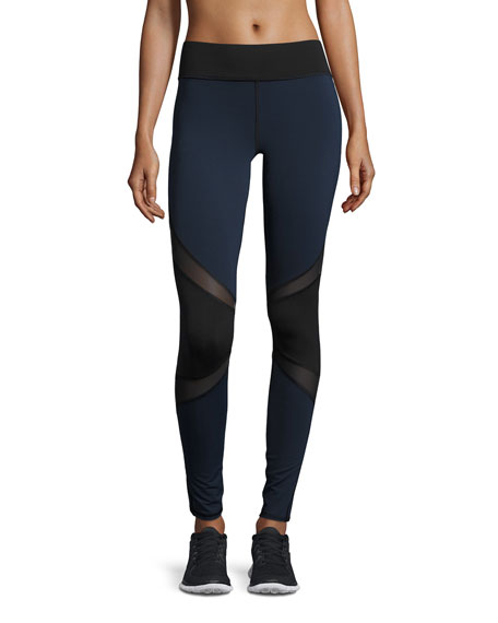 Michi Pulsar Colorblock Mesh-Panel Athletic Leggings, Navy
