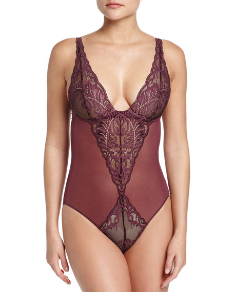 Feathers Lace Bodysuit, Merlot