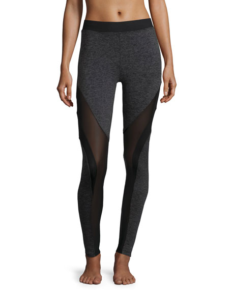 Frame Mesh-Panel Sport Leggings, Dark Gray Heather/Black