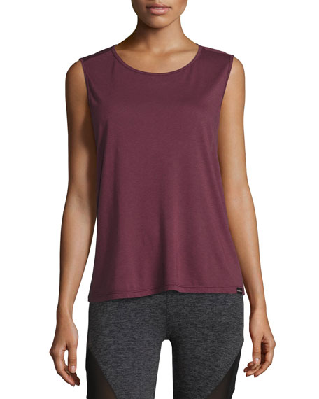 Koral Activewear Aura Strappy-Back Performance Tank, Wine