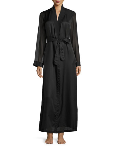 Jazztime Cotton-Silk Long Robe, Black