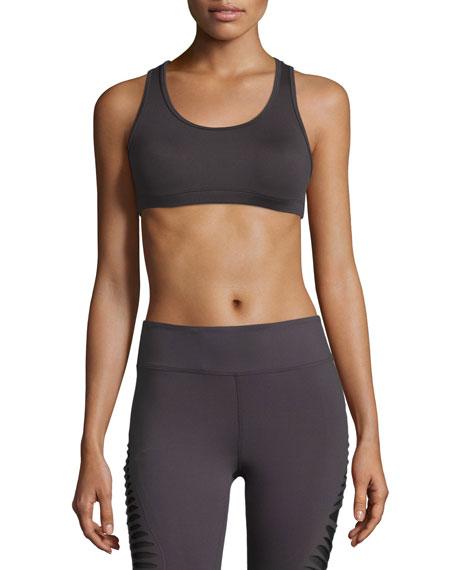 Koral Activewear Vision Mesh-Back Sports Bra, Charcoal