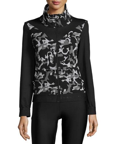 Emblem Front-Zip Jacket, Black Camo