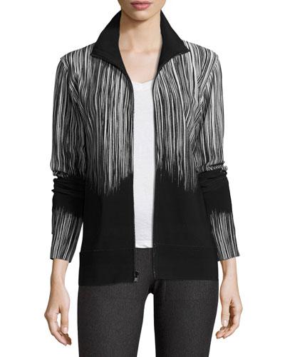 Printed Turtleneck Zip-Front Jacket, Fringe
