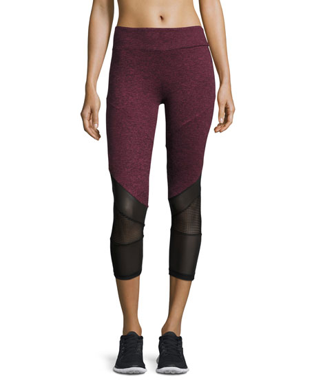 Lanston Mesh-Combo Cropped Athletic Leggings, Orchid
