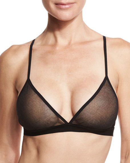 Triangle Soft Tulle Cotton Bra, Black