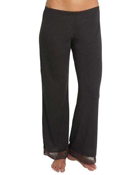 Eberjey Pandora Lace-Trim Lounge Pants, Praline/Truffle
