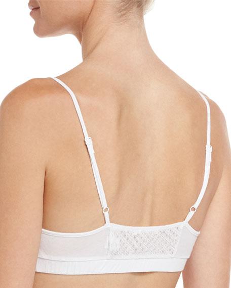 Mesh & Organic Jersey Basic Bralette, White