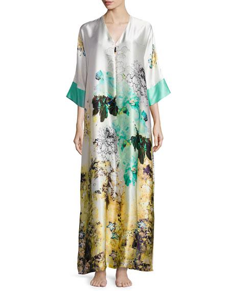 Christine Designs Floral-Print Silk Caftan, Ibiza