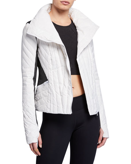 Blanc Noir Motion Paneled Puffer Jacket, Black/Charcoal Heather