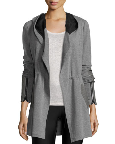 Traveler Long Jacket w/Leather Trim, Heather Gray/Black Top Reviews