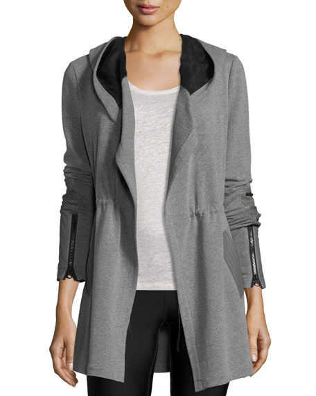 Blanc Noir Traveler Long Jacket w/Leather Trim, Heather