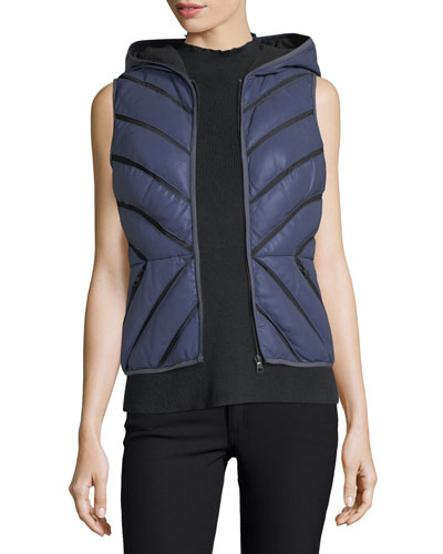 Satin Mesh-Inset Puffer Vest, Silver/Gray